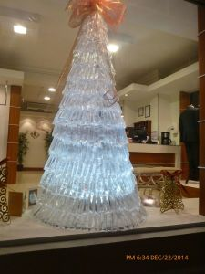 A very unique Christmas Tree - plastic bags filled with water and lit from inside